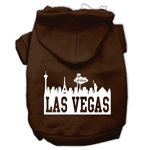 Las Vegas Skyline Screen Print Pet Hoodies Brown Size XS (8)