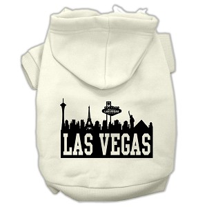 Las Vegas Skyline Screen Print Pet Hoodies Cream Size Lg (14)