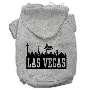 Las Vegas Skyline Screen Print Pet Hoodies Grey Size Med (12)