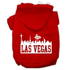 Las Vegas Skyline Screen Print Pet Hoodies Red Size Lg (14)