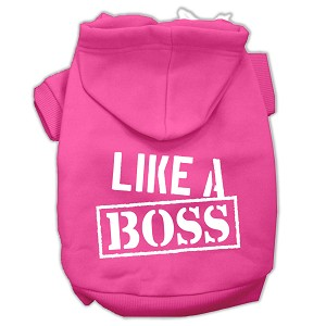 Like a Boss Screen Print Pet Hoodies Bright Pink Size Med (12)