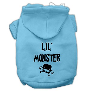 Lil Monster Screen Print Pet Hoodies Baby Blue Size Lg (14)