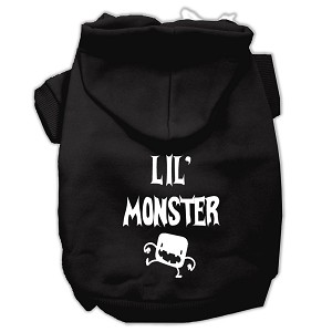 Lil Monster Screen Print Pet Hoodies Black Size Lg (14)