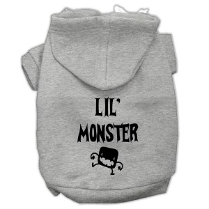 Lil Monster Screen Print Pet Hoodies Grey Size Sm (10)