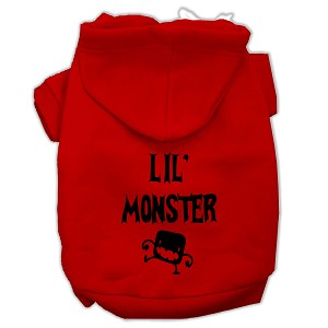 Lil Monster Screen Print Pet Hoodies Red Size XS (8)
