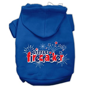 Little Firecracker Screen Print Pet Hoodies Blue Size Sm (10)
