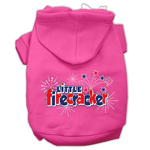 Little Firecracker Screen Print Pet Hoodies Bright Pink Size L (14)