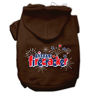 Little Firecracker Screen Print Pet Hoodies Brown Size Lg (14)