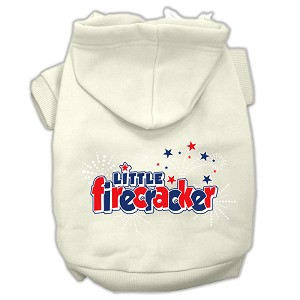 Little Firecracker Screen Print Pet Hoodies Cream Size XL (16)