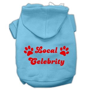 Local Celebrity Screen Print Pet Hoodies Baby Blue Size Med