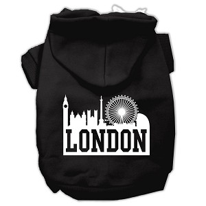 London Skyline Screen Print Pet Hoodies Black Size XS (8)