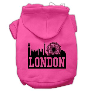 London Skyline Screen Print Pet Hoodies Bright Pink Size Sm (10)