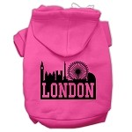 London Skyline Screen Print Pet Hoodies Bright Pink Size Med (12)