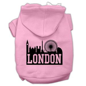 London Skyline Screen Print Pet Hoodies Light Pink Size Lg (14)