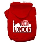 London Skyline Screen Print Pet Hoodies Red Size XS (8)