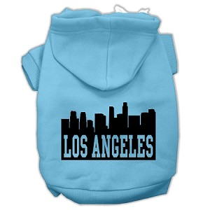 Los Angeles Skyline Screen Print Pet Hoodies Baby Blue Size XXL (18)