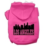 Los Angeles Skyline Screen Print Pet Hoodies Bright Pink Size XS (8)