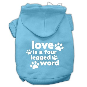 Love is a Four Leg Word Screen Print Pet Hoodies Baby Blue Size Sm (10)