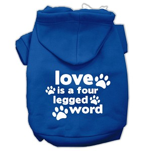 Love is a Four Leg Word Screen Print Pet Hoodies Blue Size Sm (10)