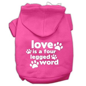 Love is a Four Leg Word Screen Print Pet Hoodies Bright Pink Size XXL (18)