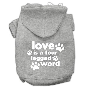 Love is a Four Leg Word Screen Print Pet Hoodies Grey Size Med (12)