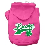 Lucky Swoosh Screen Print Pet Hoodies Bright Pink Size XS (8)