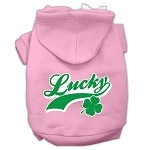 Lucky Swoosh Screen Print Pet Hoodies Light Pink Size XS (8)