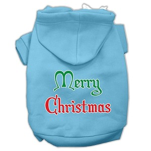 Merry Christmas Screen Print Pet Hoodies Baby Blue Size XS (8)