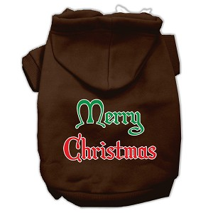 Merry Christmas Screen Print Pet Hoodies Brown Size XL (16)