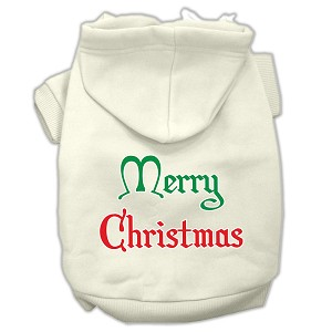 Merry Christmas Screen Print Pet Hoodies Cream Size Sm