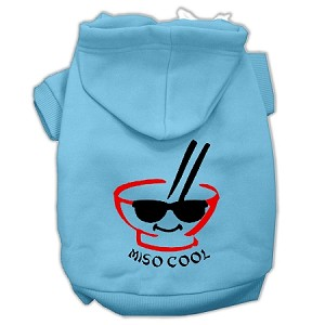 Miso Cool Screen Print Pet Hoodies Baby Blue Size Sm (10)