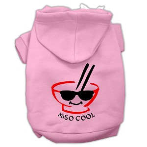 Miso Cool Screen Print Pet Hoodies Light Pink Size XS (8)