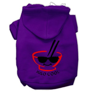 Miso Cool Screen Print Pet Hoodies Purple Size Lg (14)