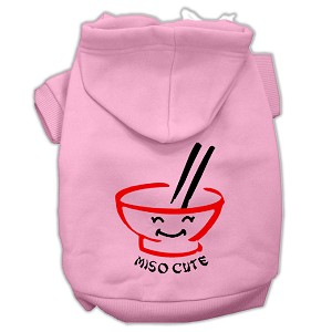Miso Cute Screen Print Pet Hoodies Pink Size Med (12)
