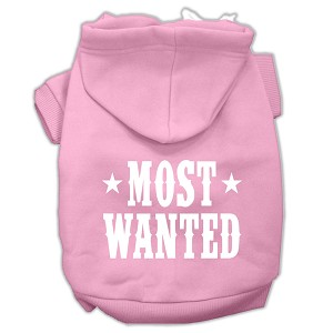 Most Wanted Screen Print Pet Hoodies Light Pink Size Sm (10)