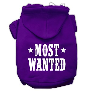 Most Wanted Screen Print Pet Hoodies Purple Size XS (8)