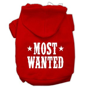 Most Wanted Screen Print Pet Hoodies Red Size Sm (10)