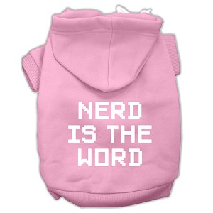 Nerd is the Word Screen Print Pet Hoodies Light Pink Size L (14)