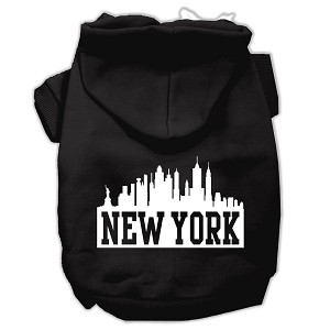 New York Skyline Screen Print Pet Hoodies Black Size XL (16)