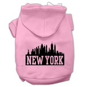 New York Skyline Screen Print Pet Hoodies Light Pink Size XL (16)