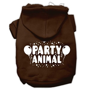 Party Animal Screen Print Pet Hoodies Brown Size Med (12)