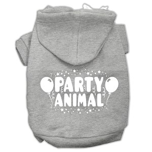 Party Animal Screen Print Pet Hoodies Grey Size Lg (14)
