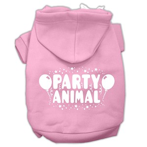 Party Animal Screen Print Pet Hoodies Light Pink Size Lg (14)