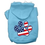 Patriotic Paw Screen Print Pet Hoodies Baby Blue L (14)