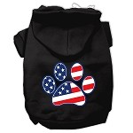 Patriotic Paw Screen Print Pet Hoodies Black XS (8)