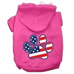 Patriotic Paw Screen Print Pet Hoodies Bright Pink Size L (14)
