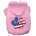 Patriotic Paw Screen Print Pet Hoodies Light Pink Size L (14)