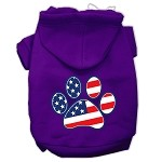 Patriotic Paw Screen Print Pet Hoodies Purple XS (8)