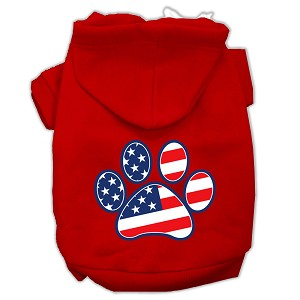 Patriotic Paw Screen Print Pet Hoodies Red Size XS (8)