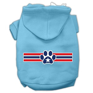 Patriotic Star Paw Screen Print Pet Hoodies Baby Blue XS (8)